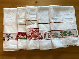 Christmas kitchen cross stitch hand towels,100%cotton,made in Italy