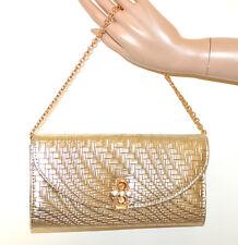 SAC POCHETTE femme OR clutch cristal métallique élégant chaîne doré handbag G75