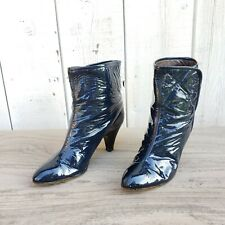 Fiocchi Italy Designer Navy Blue Patent Leather Ankle High Heel Boots 9 B