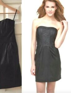 Jenny Han Womens Black Linen Waxed Coated Strapless Mini Cocktail Dress XS $185