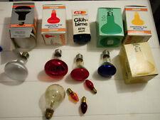 Glühlampensortiment: Reflektorlampen farbig und weiß, Kohlefadenlampe