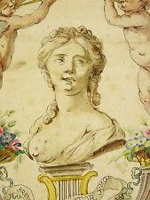 Dessin ancien:Buste de femme entourrée d'anges, instrument de musique médaillons