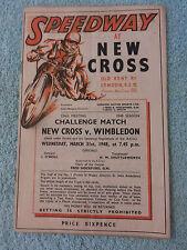 NEW CROSS SPEEDWAY ORIGINAL PROGRAMME, 1948 v WIMBLEDON, 31st MARCH, 2nd MEETING