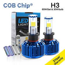 2X 60W 6000LM H3 COB Chip LED Headlight Kit 3K 6K 10K Bulbs Headlamp