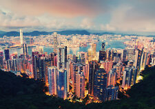 HONG KONG VIEW NEW A3 CANVAS GICLEE ART PRINT POSTER