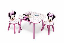 Disney Minnie Mouse Wooden Table and 2 Chair Set For Kids Toddler Play Study NEW
