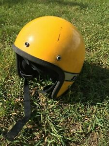 Vintage Ski Doo LM27086 Youth Yellow Snowmobile Helmet Open Face classic old