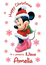 Minnie Mouse A5 Christmas card Daughter Sister Granddaughter Niece Friend Name