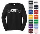 Devils College Letter Team Name Long Sleeve Jersey T-shirt