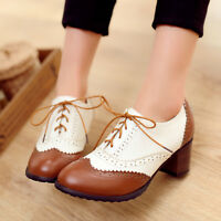Womens Brogue Roma Leather Retro Vintage Cuban Mid Heel Casual Shoes Plus Size 9