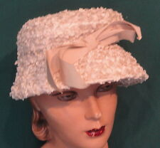 Vintage Light Tan Straw Hat with Grosgrain Bow - Large