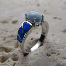 Size 8 3/4 (EU Size 57) Size 8.75 Blue LARIMAR FIRE OPAL Ring, 925 SILVER #0548