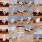 925 Sterling Silver Crystal Apple Heart Drop Charms Necklace Pendant Party Gifts