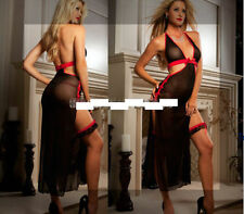 Rose Black Slit Skirt Dance Evening Lingerie Babydoll Dress Mesh Sheer G-String