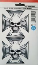 Auto Motorcycle Iron Cross and Skull HD Quality Decal Sticker (Set of 2)