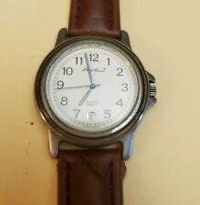 Eddie Bauer Stainless Steel Watch brown leather band new battery