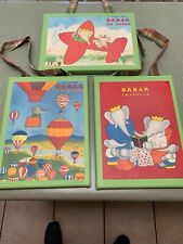 LOT OF 3 BABAR THE ELEPHANT WALL PICTURES W/ PLAID RIBBON HANGER ON EACH ONE