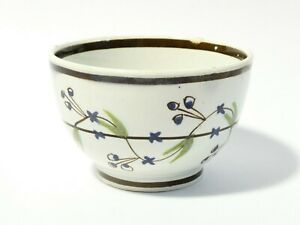 Antique Pearlware Miniature Toy Tea Bowl Hand Painted Floral Pattern 6x4cm