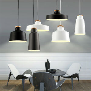 Modern Pendant Light Wood Chandelier Lighting Black Ceiling Light Kitchen Lamp