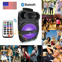"Bluetooth Party Karaoke 8"" Stereo Tailgate Portable Speaker w/ LED Rechargeable"