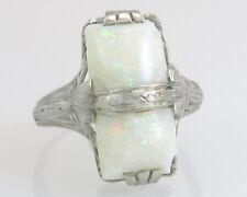 Antique Estate 18k White Gold 2.50ct Genuine Opal Art Deco Filigree Ring