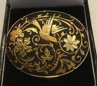 STUNNING VINTAGE CLOISONNÉ BLACK ENAMEL ON GOLD TONE  BROOCH BIRD DESIGN