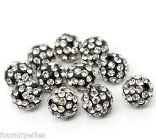 10 Perles strass pavé boule Noir pr Bracelet réglable 10mm B22753