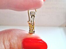 LQQK Gorgeous 14K Yellow Gold 1 single elongated hoop Diamond Earring 0.30ctw
