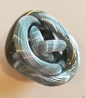 Metallic Light Blue Twisted Love Knot Collectible Art Piece Paperweight
