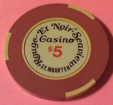 ROUGE ET NOIR ~ $5 CASINO CHIP ~ PHILIPSBURG, ST. MAARTEN ~ SEAVIEW ~ 1980'S