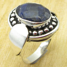 ! 925 Silver Plated Jewellery New Simulated Sapphire Latest Style Ring Size 7