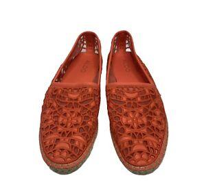Aldo Orange Espadrilles Size 8 Flat Loafer Lace Casual Slip On Shoes