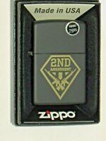 New ZIPPO USA Windproof Lighter 79551 2nd Amendment Gun Shield Black Matte Case