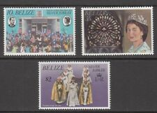 1977 Belize Queen Elizabeth 11 Silver Jubilee set of 3 mint stamps.
