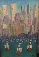 Christopher Columbus NYC Twin Towers 1992 Signed WM. T. Miraglia Oil Painting