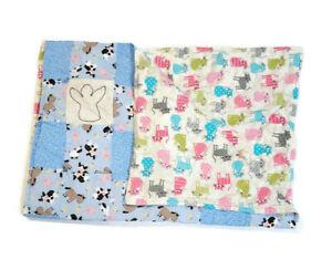 Handmade Baby Quilt Blanket Reversible Unique Multicolor Farm Animals & Cats
