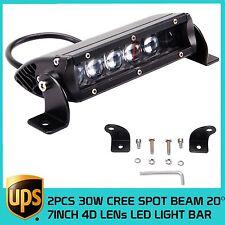 2PCS 7inch 30W LED 4D Optical Spot BEAM Off-road Truck ATV CREE LED Light Bar
