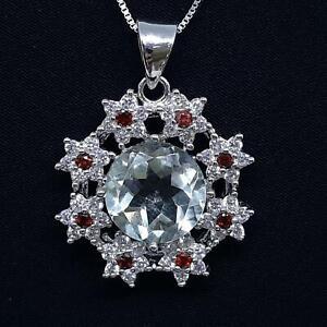 World Class 9.70ctw Green Amethyst & Diamond Cut White Sapphire 925 Pendant 6.8g