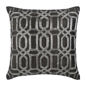 Decorative Pillowcase 20x20 inch Charcoal Grey, Velvet - Turkish Silver