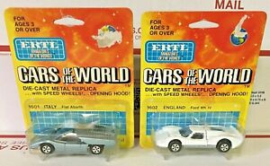 ERTL CARS OF THE WORLD 1601 ITALY FIAT ABARTH - 1602 ENGLAND FORD MK IV 1/64 NOC