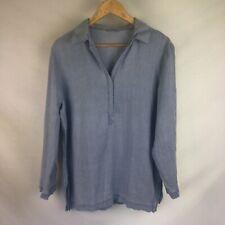 Womens Shirt Size 16 M&S Blue Top 100% Linen