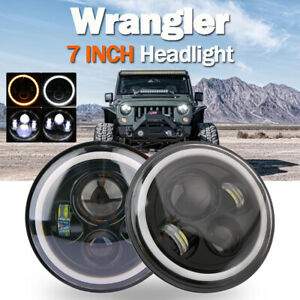 "2PCS 7""LED Halo Angel Eyes Headlight 60W Headlamp For Jeep Wrangler JK TJ CJ5/7"