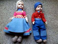Pair Vintage Dean's Rag Book Cloth Doll, Dutch; Large - Antique; London