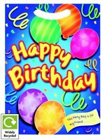 BOYS BLUE HAPPY BIRTHDAY PARTY BAGS ~ RECYCLABLE LOOT TREAT FAVOUR GOODY BAG