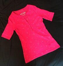 ARIZONA JEAN Short Sleeve SHIRT Knit Top Sz S/CH Juniors Wms BUTTON NECK Pink