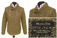 Mens Massimo Dutti Jumper Sweater Cable Knit Brown Wool Silk Cashmere Size M