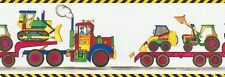 Primary Colored Construction Vehicles Sure Strip Wallpaper Border BZ9167B