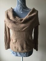 River Island Womens Jumper Size 12 Beige Off Shoulder Cowl Neck Striped 3/4 Sle