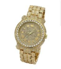Iced Out Pave Plated Tone Hip Hop Men's Bling Bling Metal Band Watch Watches