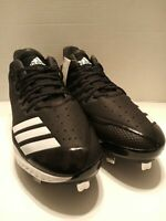 Adidas Icon Bounce Low Metal Spikes Baseball Shoes Cleats Black/White Size 12